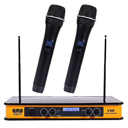 EMB - EBM60E Yellow VHF Dual Wireless Handheld Microphone System with Echo Feature. Great for Karaoke, DJ, PA, Presentation, Live Performances and Family Party