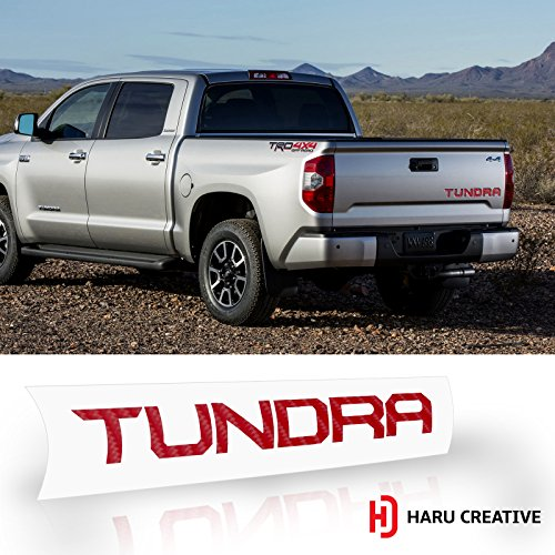 Haru Creative - Rear Tailgate Trunk Letter Insert Decal Sticker Compatible with and Fits Toyota Tundra 2014-2018 - 4D Carbon Fiber Red