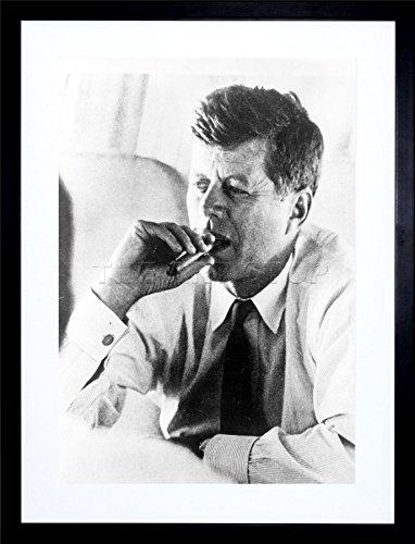 Framed Picture Vintage (Vintage Photo President John Kennedy Smoke Cigar JFK Framed Art Print F12X1759)