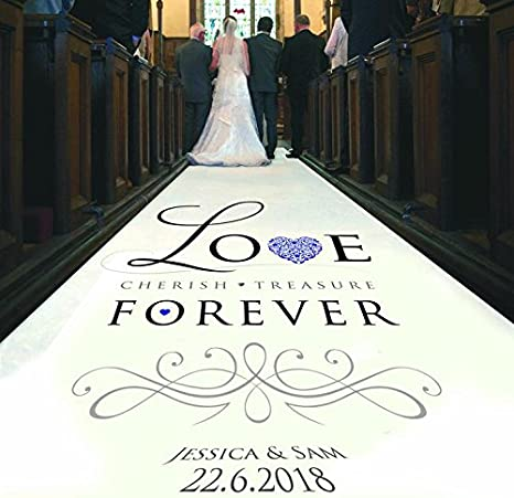 Personalised Wedding Aisle Runner for Ceremony Decor and Wedding Venue Decoration Custom Printed Aisle Runner Love Cherish Treasure Wedding 12 Metres