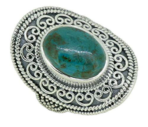 (YoTreasure Oval Chrysocolla Ring Solid 925 Sterling Silver Designer Jewelry)