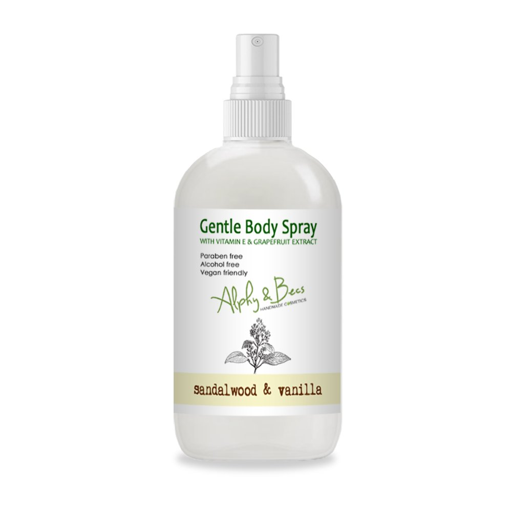 Alcohol Free Mist Gentle Body Spray - Sandalwood & Vanilla - With Vitamin E - 100ml Alphy & Becs