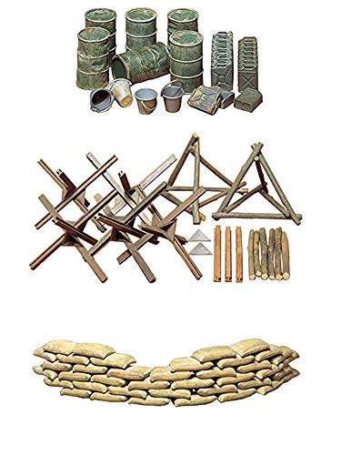 (3 Sets of Tamiya Military Assembly Models - Sand Bags, Barricade and Oil Drums, Jerry Cans and Bucket Sets (Japan Import))