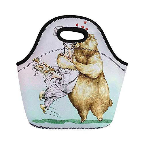 Cartoon Durable Lunch Bag,Big Bear Fully Hugs the Pastry Animal Love Humor Satire Romance Theme Artful for School Office,11.0