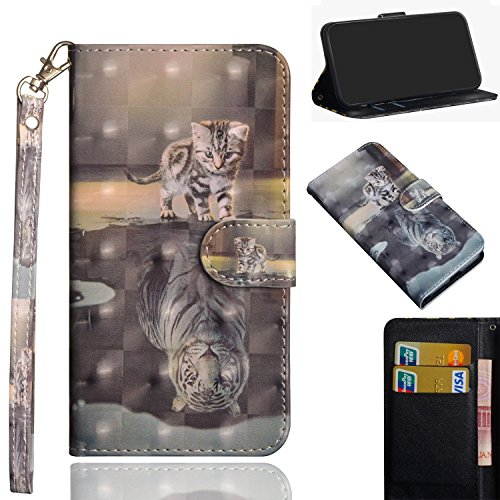 DAMONDY LG X Charge Case,LG Xpower 2 Case,LG Fiesta LTE, 3D Cute Premium PU Leather Flip Card Slots Kickstand Stylish Slim Cover with Holders Design Wallet Magnetic Case for LG LV7-cat tiger (Slim Design Leather Pu)