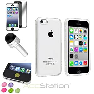 XMAS SALE!!! Hot new 2014 model Clear Ultra thin Hard Case+Dust Cap Pen+Mirror SP+Sticker For iPhone 5CCHOOSE COLOR