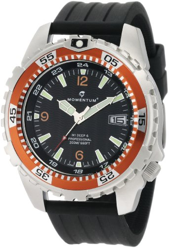 Momentum Men's 1M-DV06O8B M1 Deep 6 Orange Bezel Black Ribbed Rubber Watch - M1 Mens Dive Watch