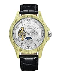 SEWOR New Design Yellow Lmitation Wood Metal Moon Phase Men's Automatic Mechanical Watch White Dial