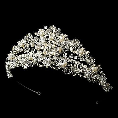 Stunning Swarovski and Freshwater Pearl Wedding Bridal Tiara - Princess Crown Water