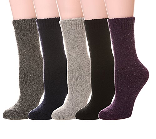 Thermal Womens Socks (Color City Women's Super Thick Soft Knit Wool Warm Winter Crew Socks - 5 Pack Solid Color 05)