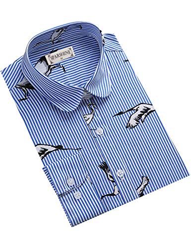 DOKKIA Women's Tops Tropical Casual Blouses Long Sleeve Work Button Up Dress Beach Aloha Hawaiian Shirts (Blue White Striped Crane, Large)
