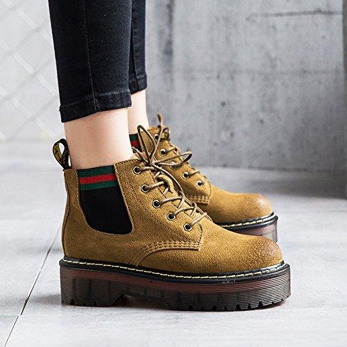 KHSKX-Der Fall Der Neuen Weiblichen Stiefel Die Stiefel Martin British Academy Studenten Mit Dicksohlige Schuhe. yellow