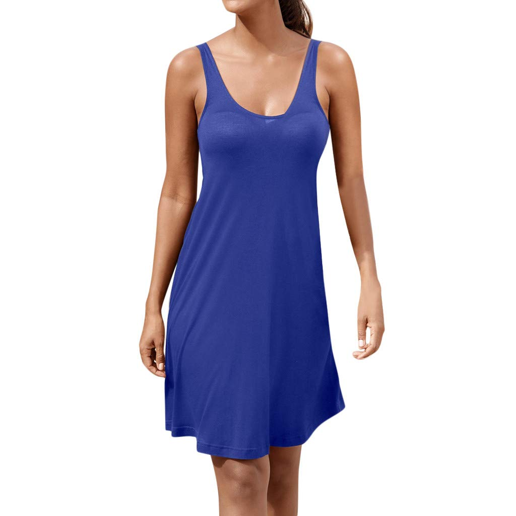 Ballad Women's Dress,Casual Brief Bohemian, Sling Sleeveless Solid Color Skirt (S, Blue)