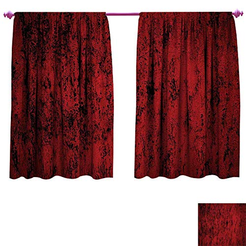 Red and Black Pillow Sham Window Curtain Drape Artistic Abstract Pattern with Grungy Distressed Look and in Vintage Style Customized Curtains W55 x L72 Decorative Standard Printed Pillowcase36 X 20