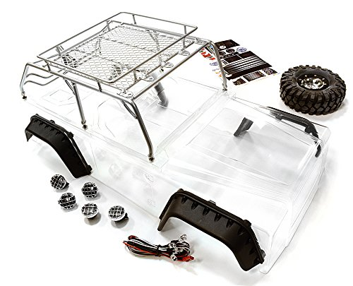 Integy Hobby RC Model C26623SILVER Realistic JPX Scale Body w/ Steel Roll Cage & LED Light for 1/10 Scale Crawler