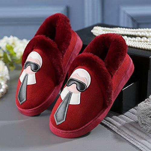 Y-Hui Chaussons Chaussons en coton dhiver dameublement de maison femme vivant dans les chaussures à semelles épaisses hommes chauds dhiver,amoureux 38-39 (digne des 37-38 pieds),le vin rouge