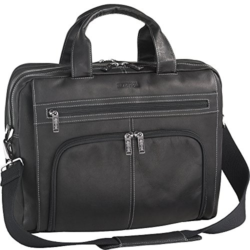 Kenneth Cole Reaction Colombian Leather Double Compartment Expandable Top Zip Computer Case Laptop Briefcase, Black, One (Expandable Case)