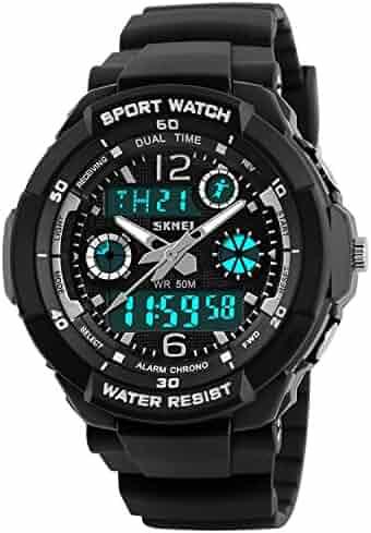 Kid Watch Multi Function Digital LED Sport 50M Waterproof Electronic Analog Quartz Watches for Boy Girl Children Gift White