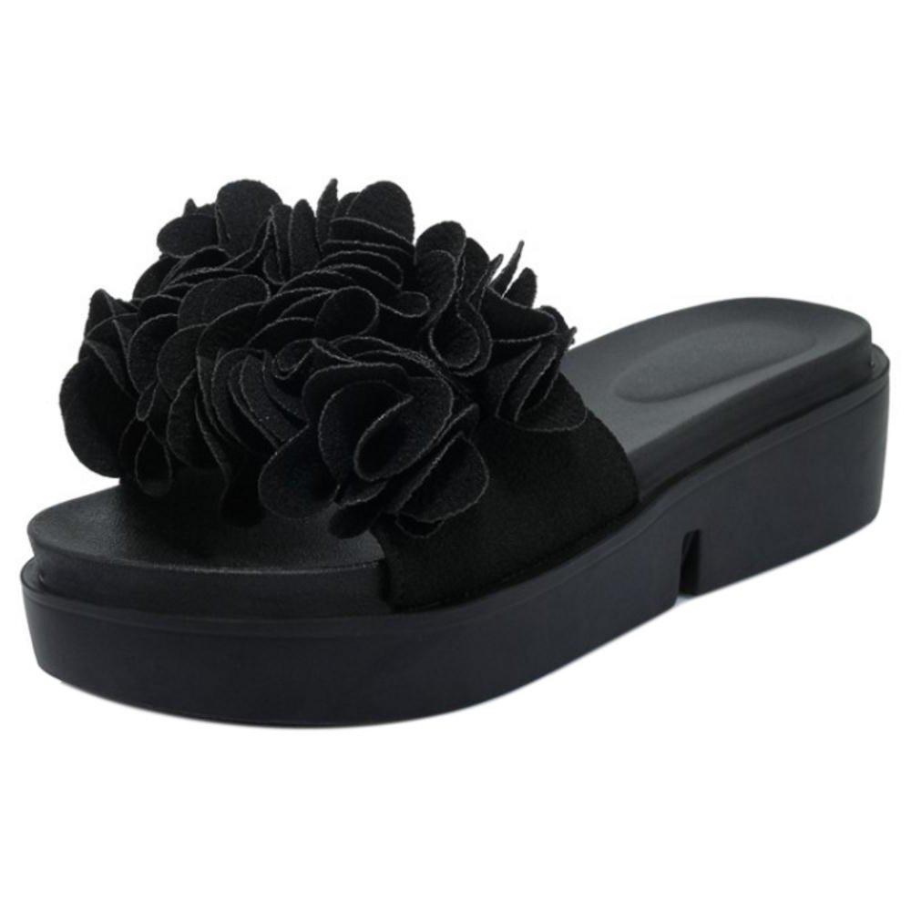 CarziCuzin Women Fashion Slip On Sandals Platform Shoes Platform Sandals B07B8YX4GT 1 US = 21 CM|Black fd3b07