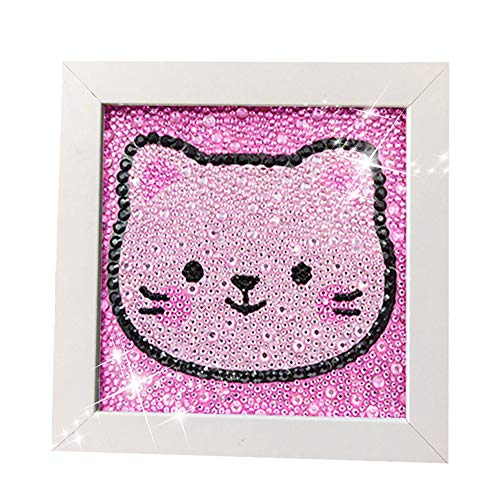- Diamond Painting for Kids Full Drill Painting by Number Kits Arts Crafts Supply Set Rhinestone Mosaic Making for Home Wall Decor Gifts for Christmas Birthday Mothers Day -Include Wooden Frame-cat