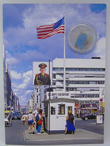 POSTCARD WITH SMALL AUTHENTIC PIECE OF THE BERLIN WALL 'Checkpoint Charlie Memorial', Germany