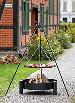 BlackOrange - Set de barbacoa con brasero (70 cm de diámetro, parrilla giratoria de 60 cm de diámetro, trípode de 180 cm de altura)