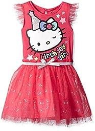 Hello Kitty Little Girls\' Happy Birthday Tutu Dress, Fuchsia Purple, 5
