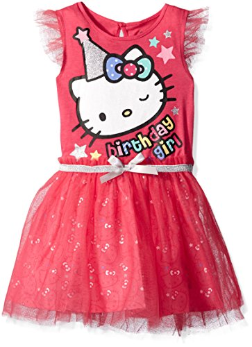 (Hello Kitty Girls' Little Happy Birthday Tutu Dress, Fuchsia Purple,)