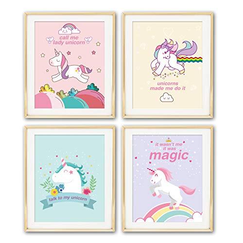 ihopes Unicorn Rainbow Wall Art Prints   Set Four 8x10 Unframed   Gifts Living Room Bedroom Decor & Girly Magical Unicorn Lover