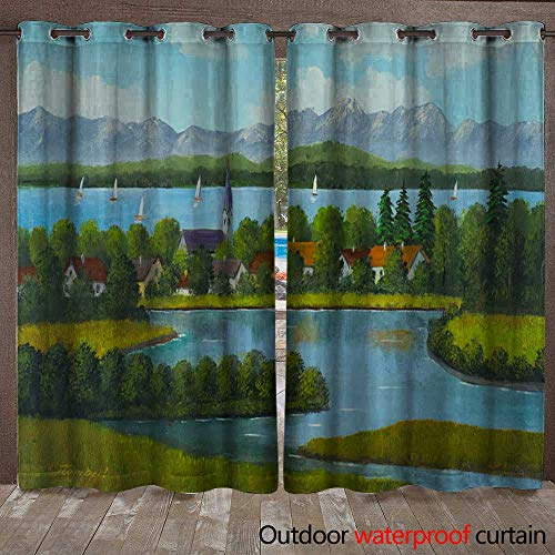 BlountDecor Door/Gazebo Curtain Lakeland with Village and Mountains in The Background Waterproof CurtainW120 x L96