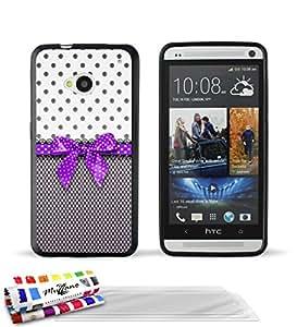 """Carcasa Flexible Ultra-Slim HTC ONE / M7 de exclusivo motivo [Pin up purpura] [Negra] de MUZZANO  + 3 Pelliculas de Pantalla """"UltraClear"""" + ESTILETE y PAÑO MUZZANO REGALADOS - La Protección Antigolpes ULTIMA, ELEGANTE Y DURADERA para su HTC ONE / M7"""