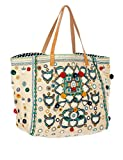 Star Mela Women's Manali Women's Ecru Tote Beach Bag 100% Cotton
