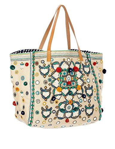 Star Mela Women's Manali Women's Ecru Tote Beach Bag 100% Cotton by STAR MELA (Image #2)