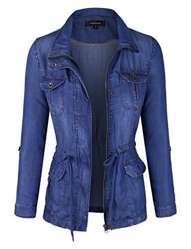 makeitmint Women's Soft Tencel Zip up Utility Denim Jean Jacket w/Pockets YJZ0066-DARK-1XL