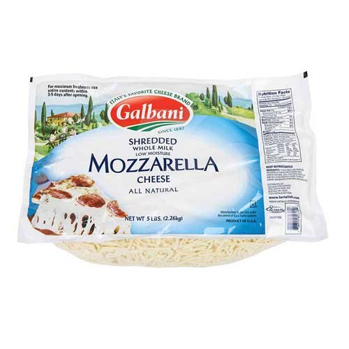 Galbani Whole Milk Low Moisture Mozzarella Cheese, 5 Pound -- 6 per case.