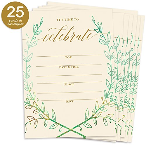 25 Rustic Laurels Invitations with Envelopes (Pack of 25) Any Occasion Large 5x7 Fill In Birthday, Anniversary, Retirement, Housewarming, Bridal Shower, Excellent Value Party Invites VI0049B
