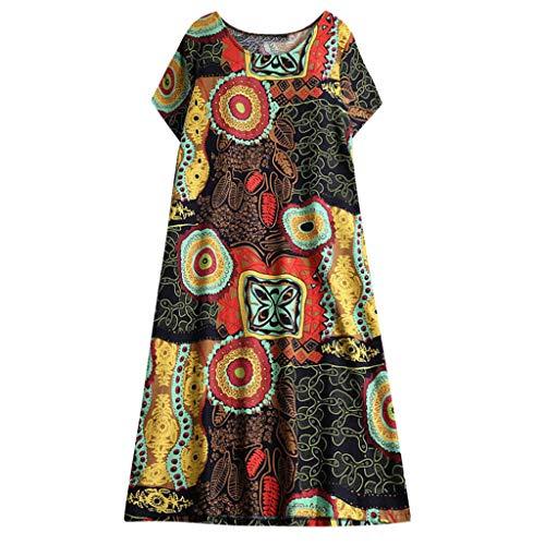 Women's Loose Shift Short Dress ❤ Casual Bohemain Retro Printed Straight Short Sleeve Scoop Neck Loose Tunic Dresses (XXX-Large, Yellow)