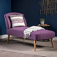 Jolie Mid Century Modern Purple Fabric Chaise Lounge