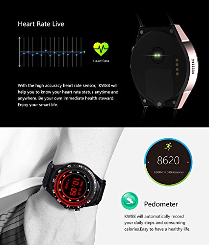 LEMFO KW88 3G Smart watch, Android 5 1 OS, Quad Core support
