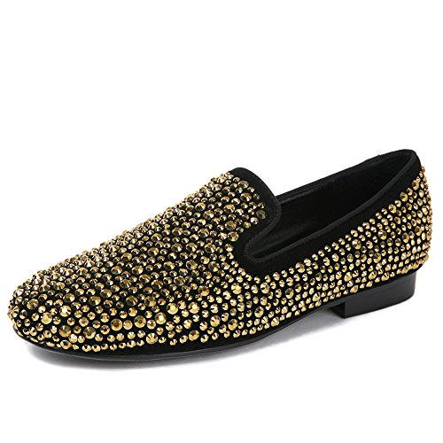 F.N.JACK Men s Gold Fashion Shoes Flat Gold Men s Crystals Studded Suede  Slip-on Loafer B07D7ZP5QK Shoes f92b55 54e95ca53639