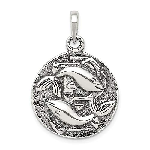 - Sterling Silver Pisces the Fish Zodiac Embossed Circle Pendant