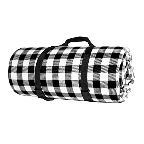 Oops Style 118 x 79'' Picnic Blanket Extra Large Machine Washable Camp Mat Black White Plaid by Oops Style
