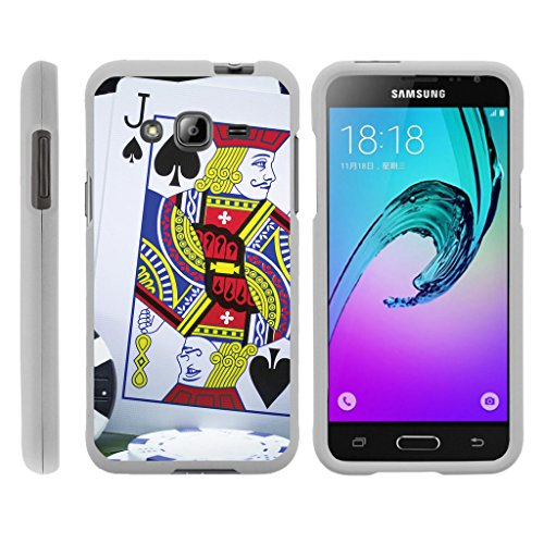 (TurtleArmor | Compatible for Samsung Galaxy J3 Case | Amp Prime | Express Prime [Slim Duo] Ultra Compact Hard Snap On Case Slim Matte Cover on White Gamble Casino - Blackjack)