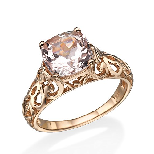 14k Gold Vine - 2.00 Carat natural peach/pink VS Morganite Ring 14k Rose Gold Vintage Art Deco Vine