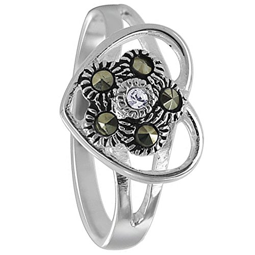 Marcasite Heart Shaped Ring - Gem Avenue 925 Sterling Silver Studded Flower Inside Heart Design Marcasite Ring
