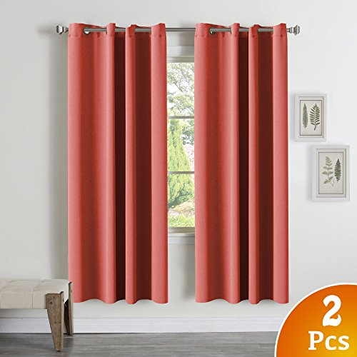 "TURQUOIZE Blackout Thermal Insulated Room Darkening Grommet Window Curtain for Bedroom, Coral, 52""W x 72""L, 2 Panels"
