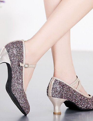 Heel Blue Shoes Women's Gold ShangYi Silver Purple Chunky Paillette Leatherette Black Blue Latin Dance 0wUgaqZ