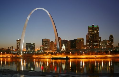 St. Louis At Night Gateway Arch Photo Famous Cities Photos 8x12