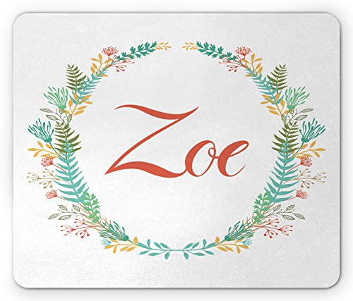 Zoe Mouse Pad by Ambesonne, Blossoming Nature Design Foliage Leaves Silhouette Baby Girl Name Arrangement Wreath, Standard Size Rectangle Non-Slip Rubber Mousepad, (Zoe Leaf Print)