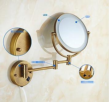 Bathroom Mirror/Wall Makeup Mirror/bandledLight Sided Mirror Folding  Retractable/Bathroom Magnifying Mirror